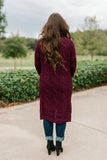 Cable Knit Cardigan - Plum