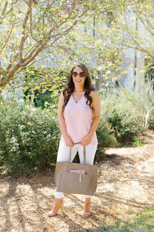 Bring It All Tote - Taupe/Blush