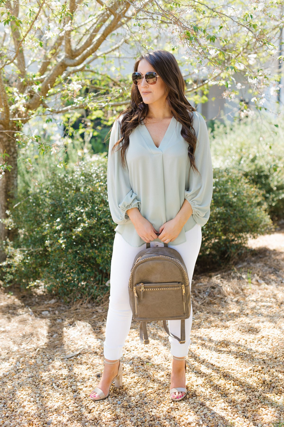 Oh So Chic Balloon Sleeve Blouse - Sage