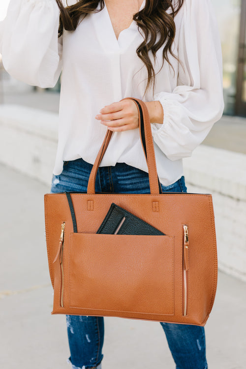 Bring It All Tote - Tan/Black