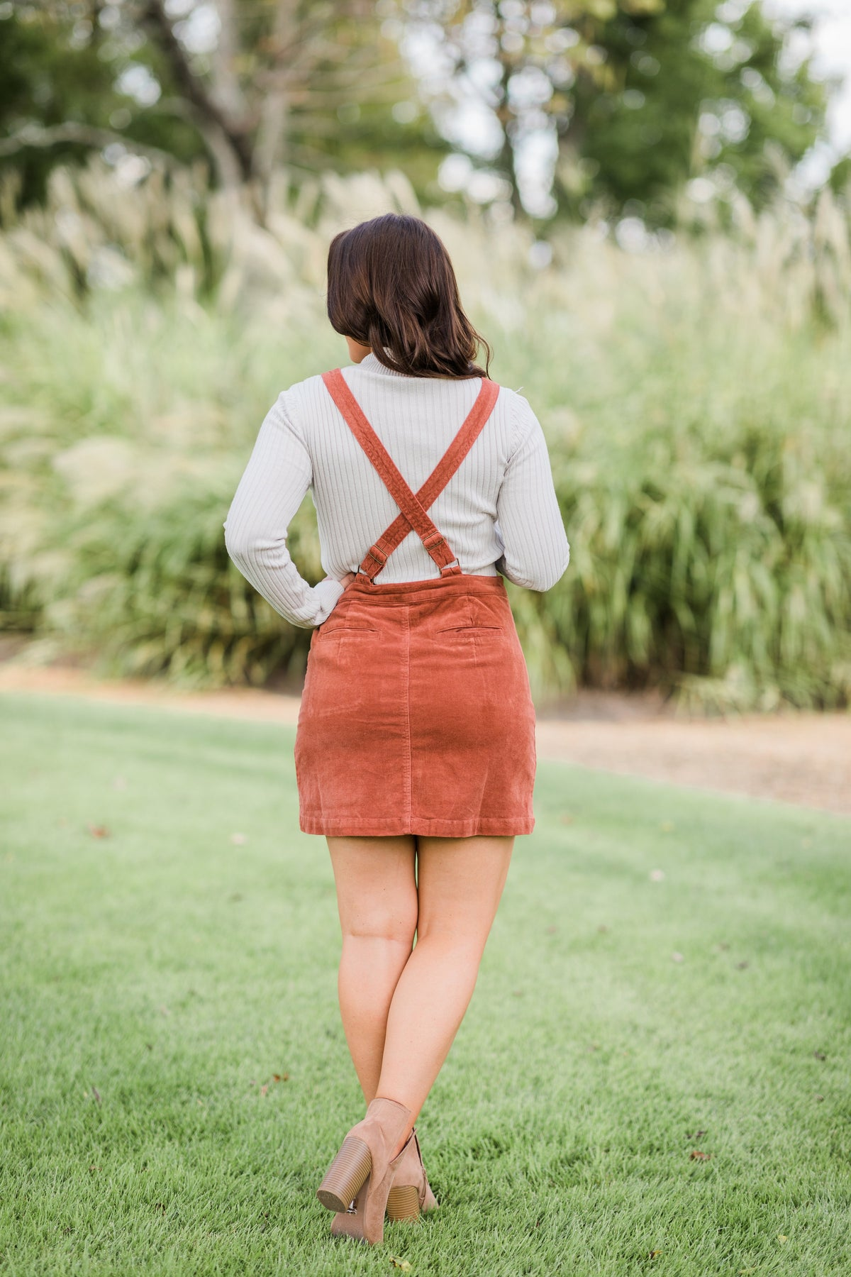 Overall The Best Corduroy Dress-Rust