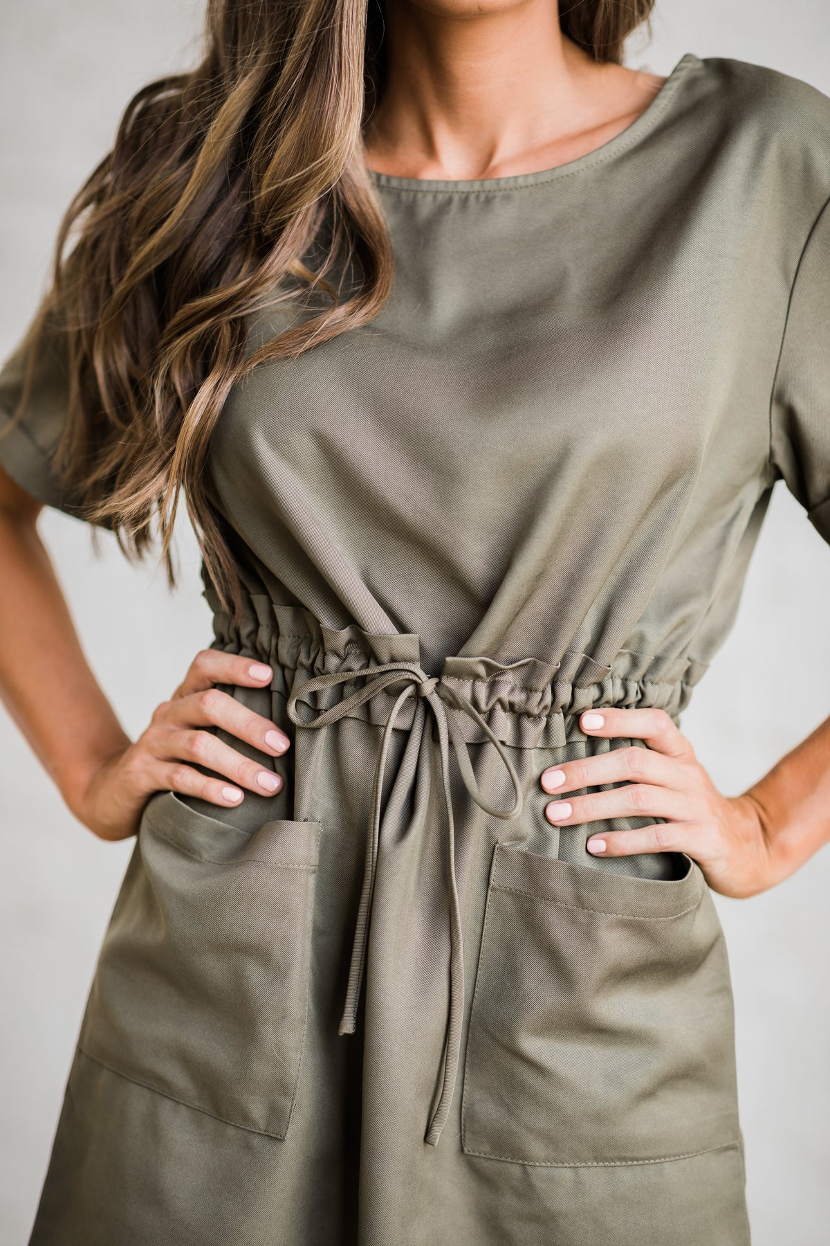 Style My Way Drawstring Dress- Olive