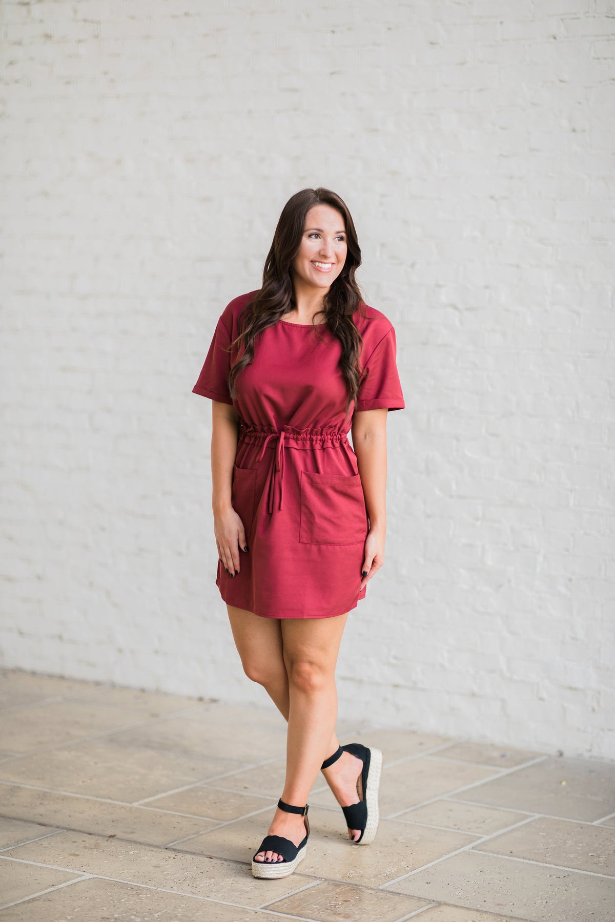 Style My Way Drawstring Dress - Marsala
