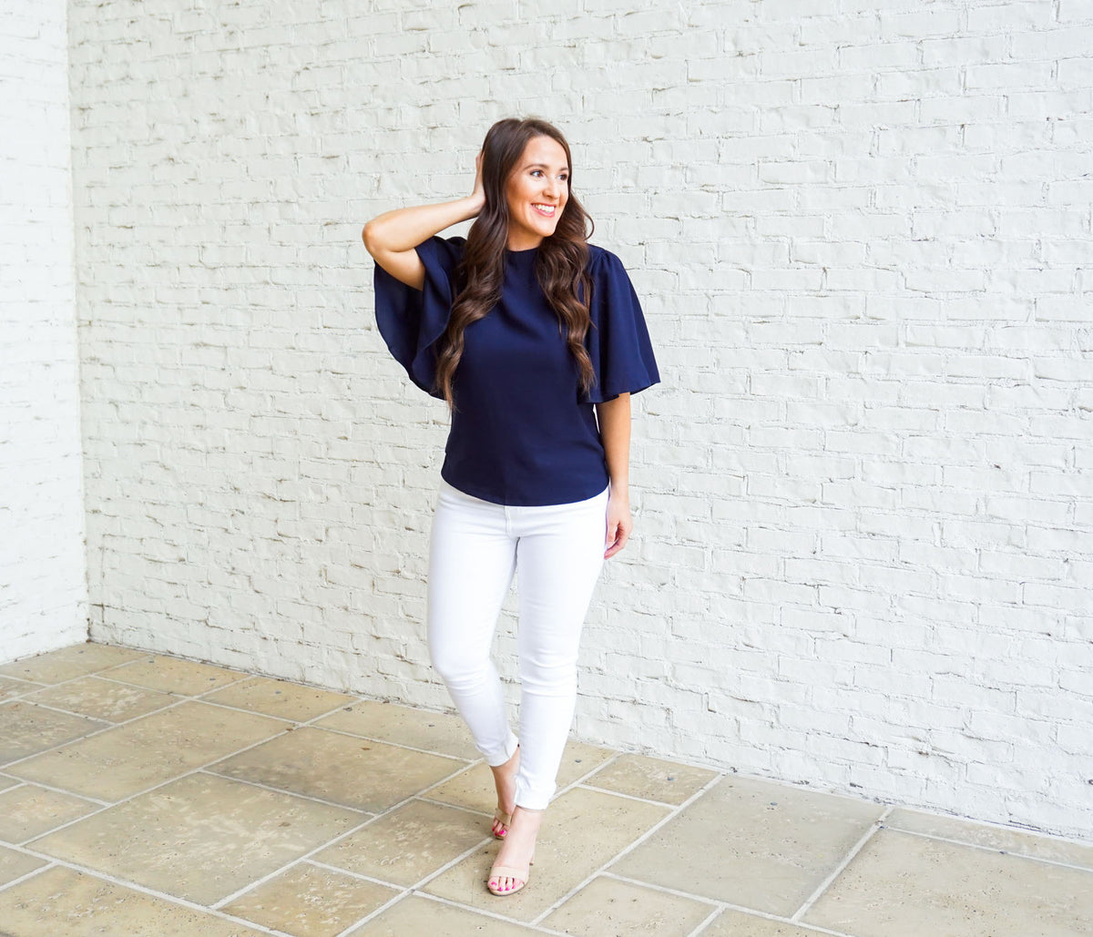 Flutter Sleeve Top - Navy