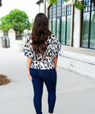 Leopard Print Balloon Sleeve Blouse - White
