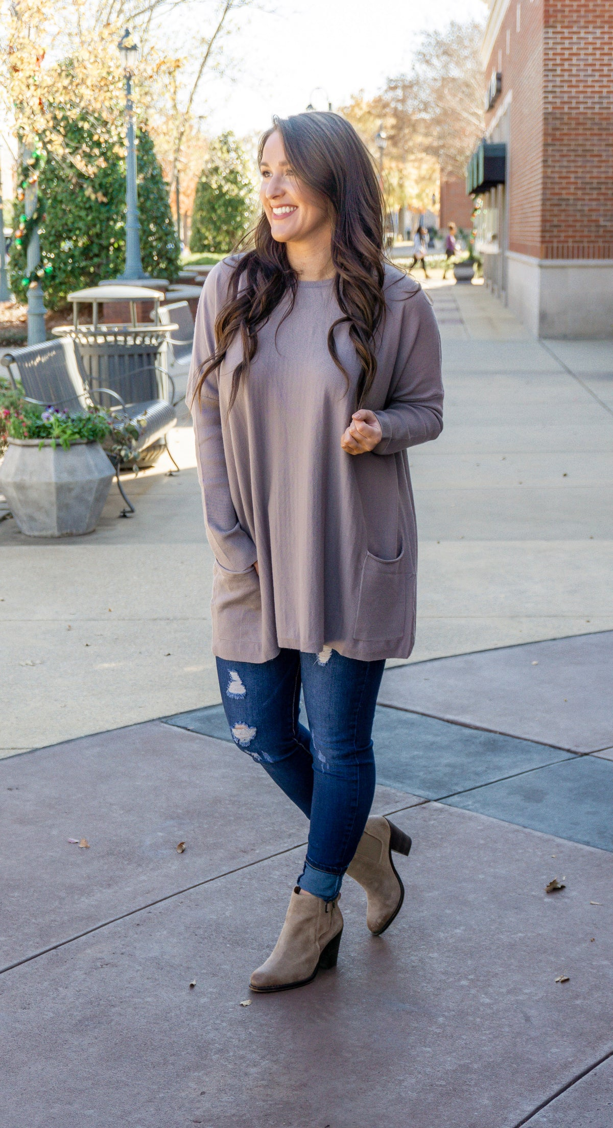 Pocketed Sweater Tunic - Stone