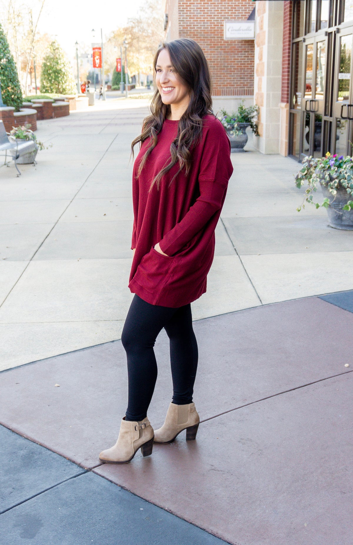 Pocketed Sweater Tunic - Wine