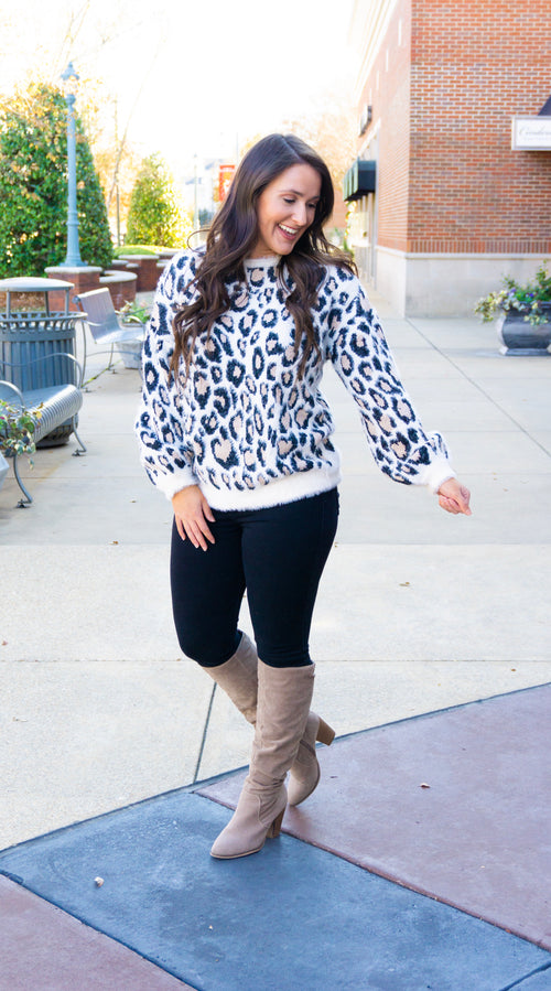 Soft Knit Leopard Sweater-Ivory