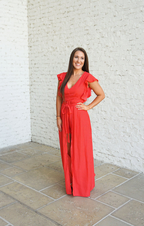 Ruffle Sleeve Maxi Skirt Romper-Red