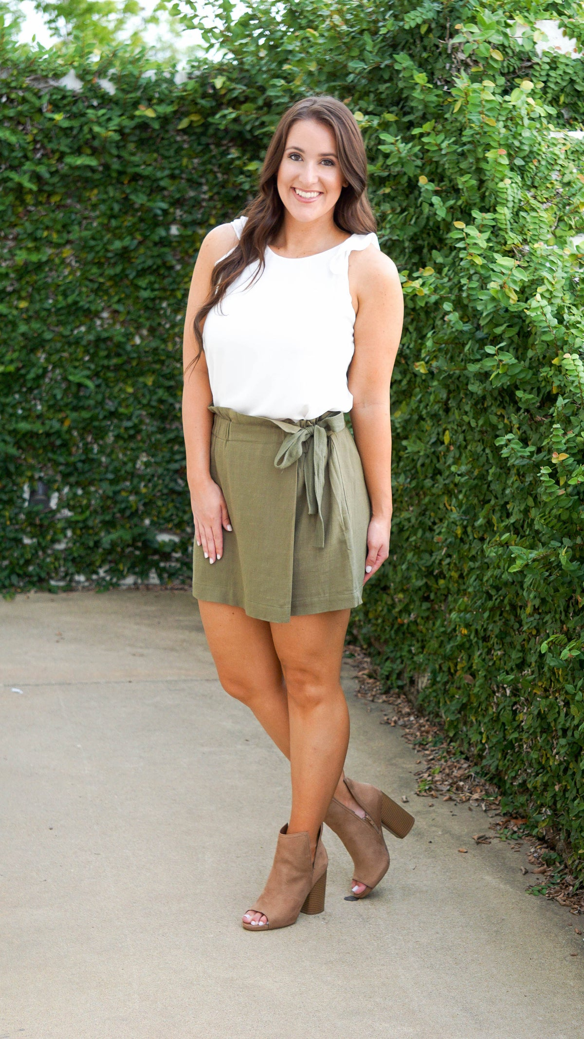 Wrap High Waisted Skort-Olive