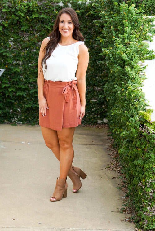 Wrap High Waisted Skort-Marsala