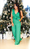 Ruffle Down Jumpsuit - Green