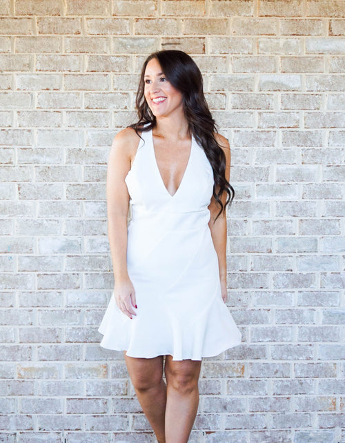 White V-neck Dress