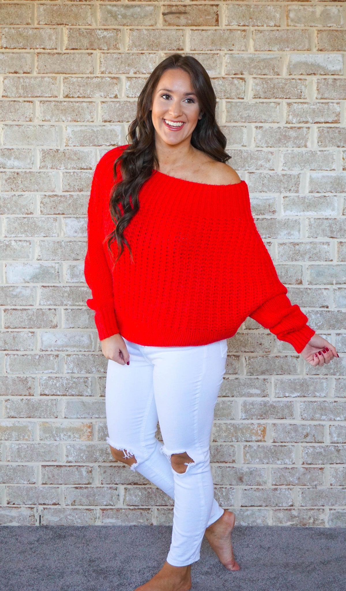 Red Off the shoulder sweater