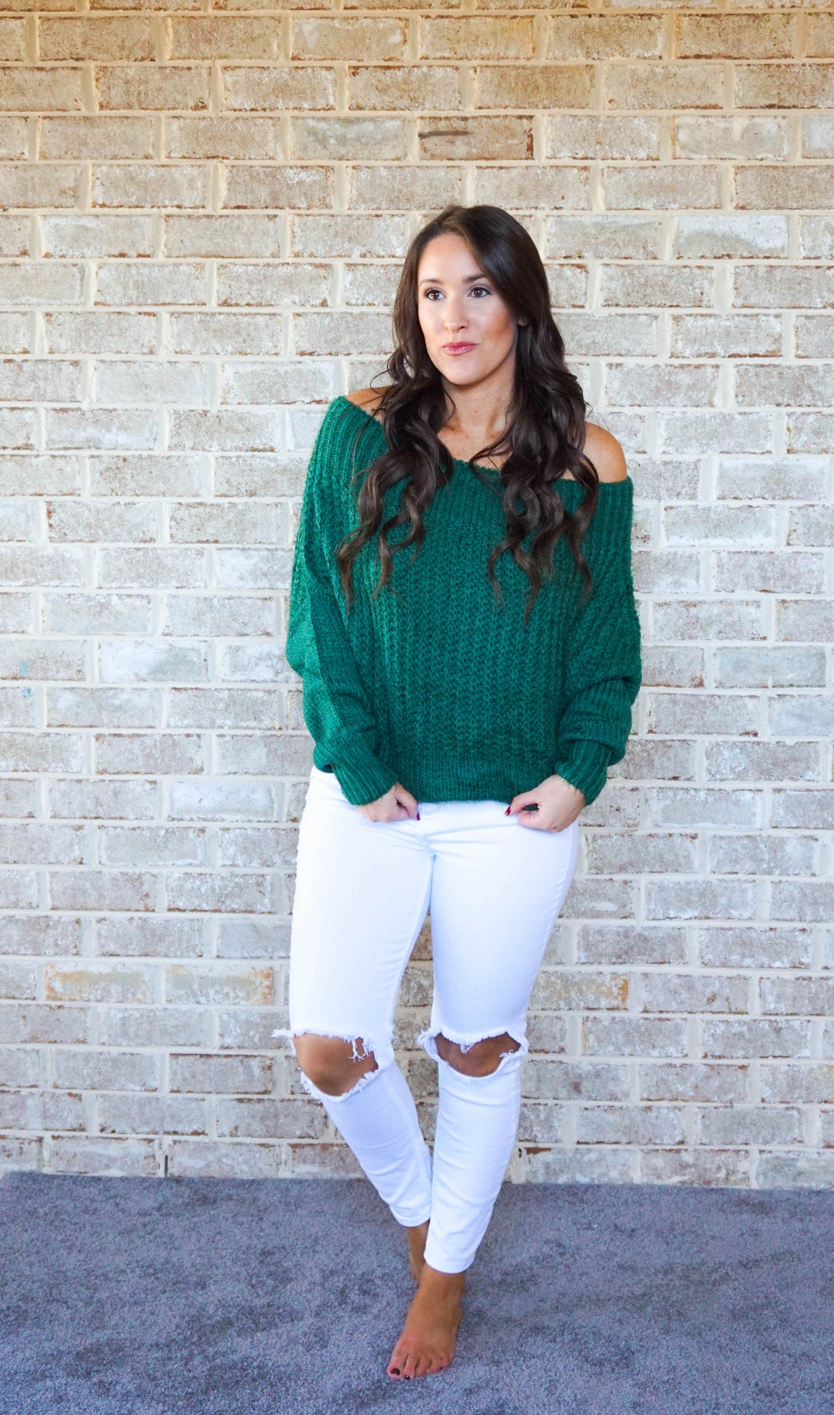 Off The Shoulder Sweater-Green