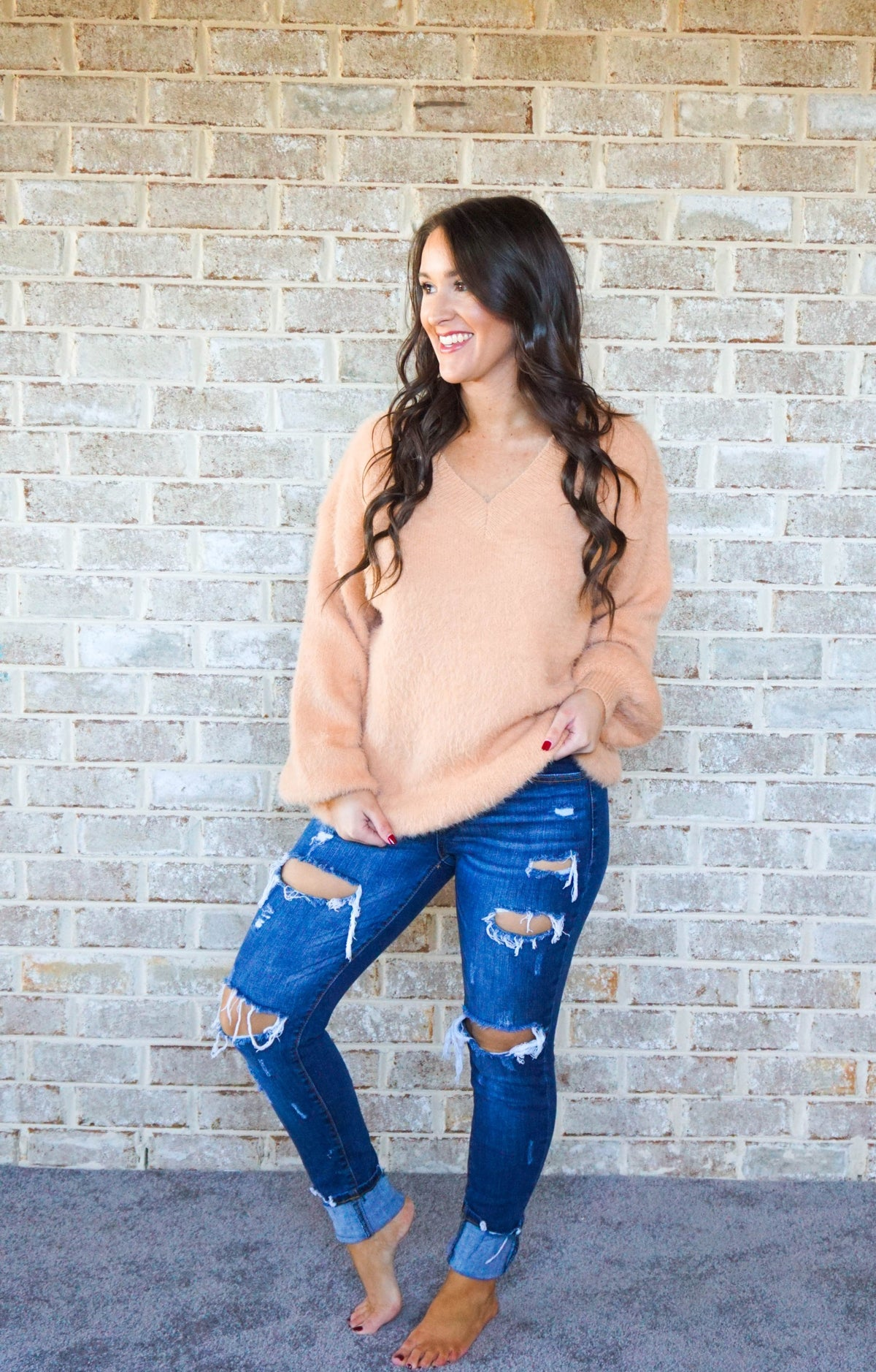 Peach V-Neck Sweater