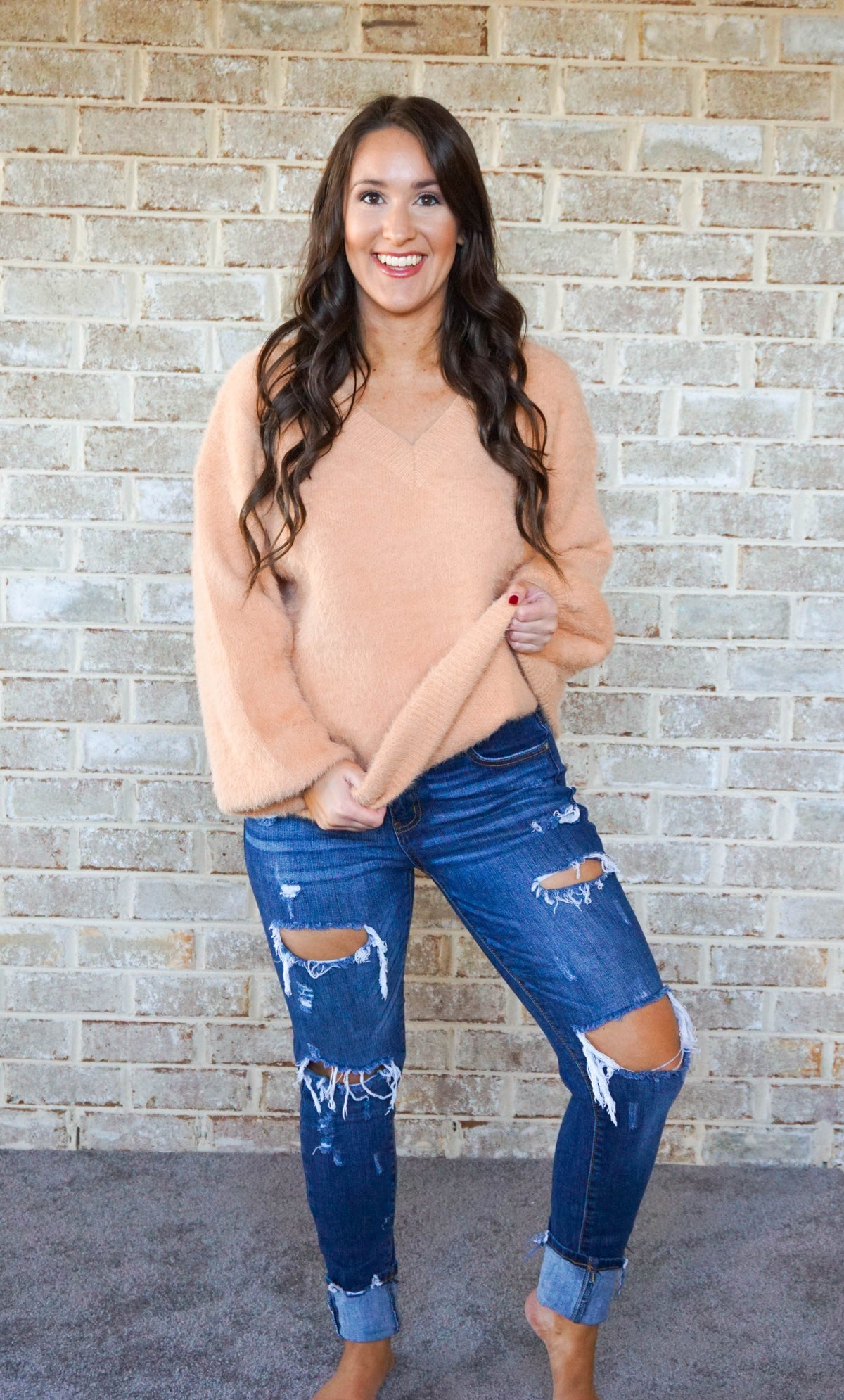 V-neck Peach Sweater