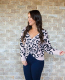 Leopard Twist Back Sweater-Light Pink