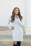 Simply You Mock Neck Dress-Light Blue/Gray