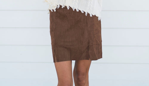 Slip Into Suede Skirt-Brown