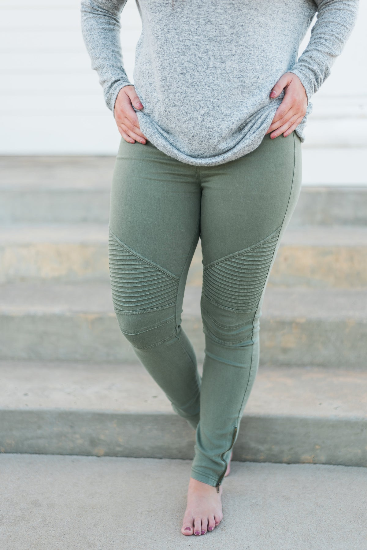 Motto Jeggings- Olive