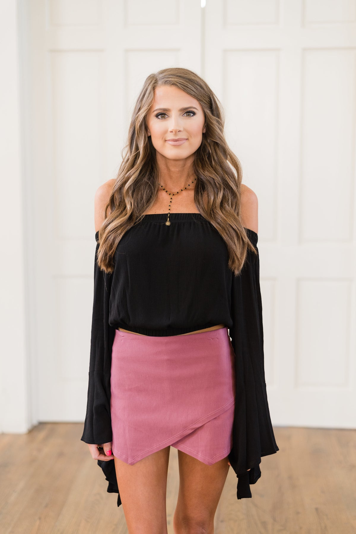 OTS Bell Sleeve Crop Top-Black