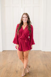 Ruffled-Trim Surplice Romper