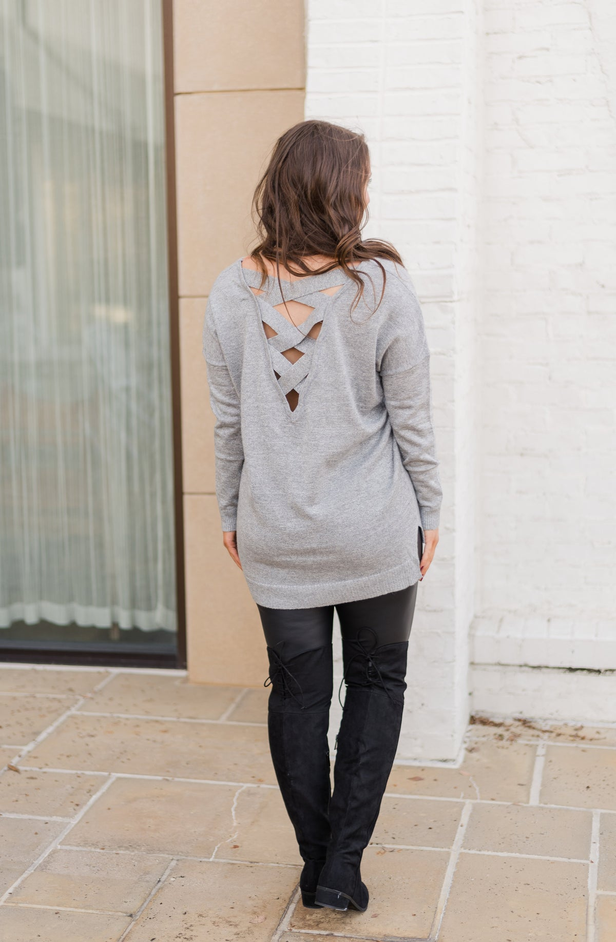 Criss Cross Metallic Tunic Sweater-Grey