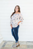 Blush Floral Print OTS Top