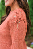 Lace Up Detailed Sweater-Rust