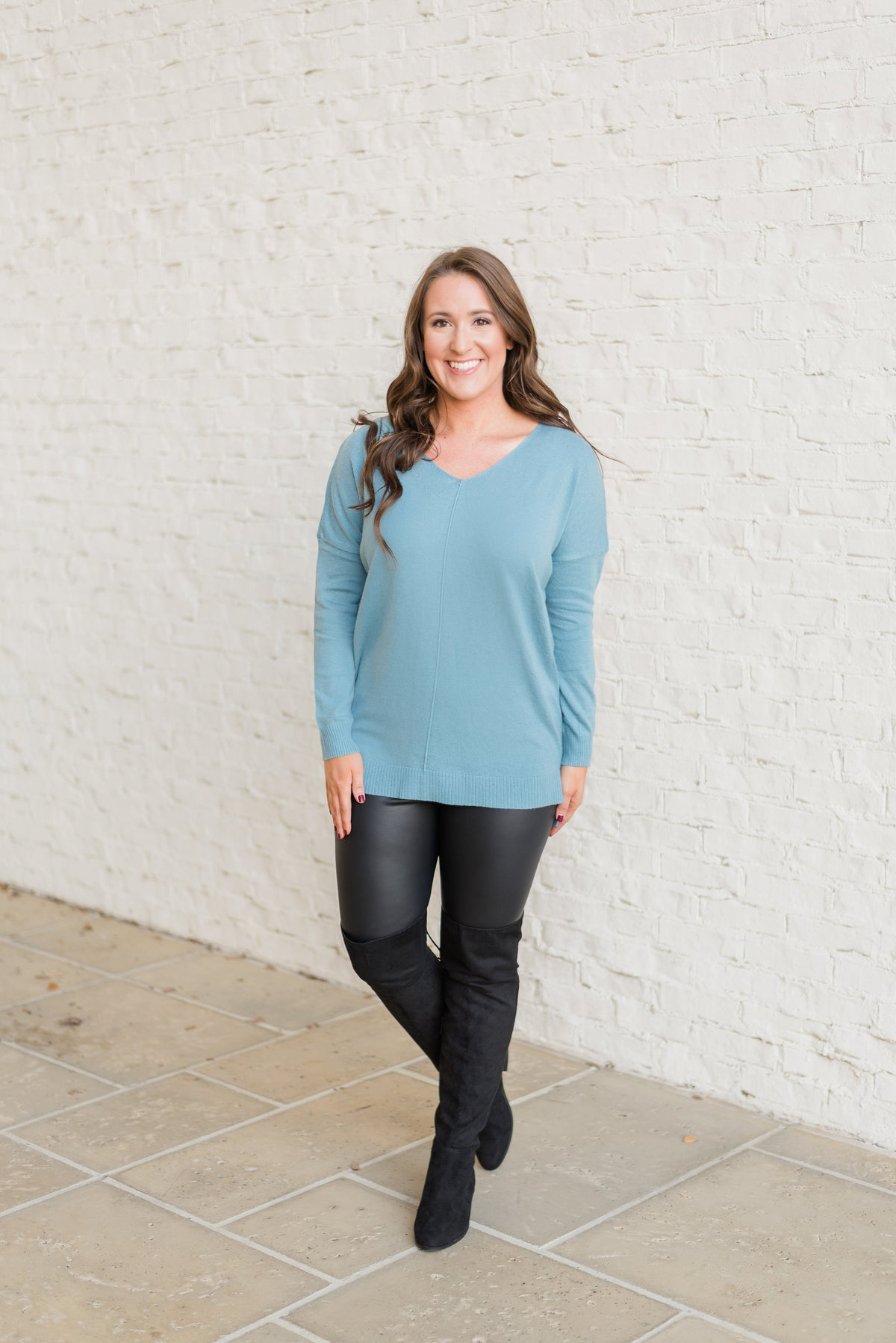 Lets Relax Tunic Sweater-Slate Blue