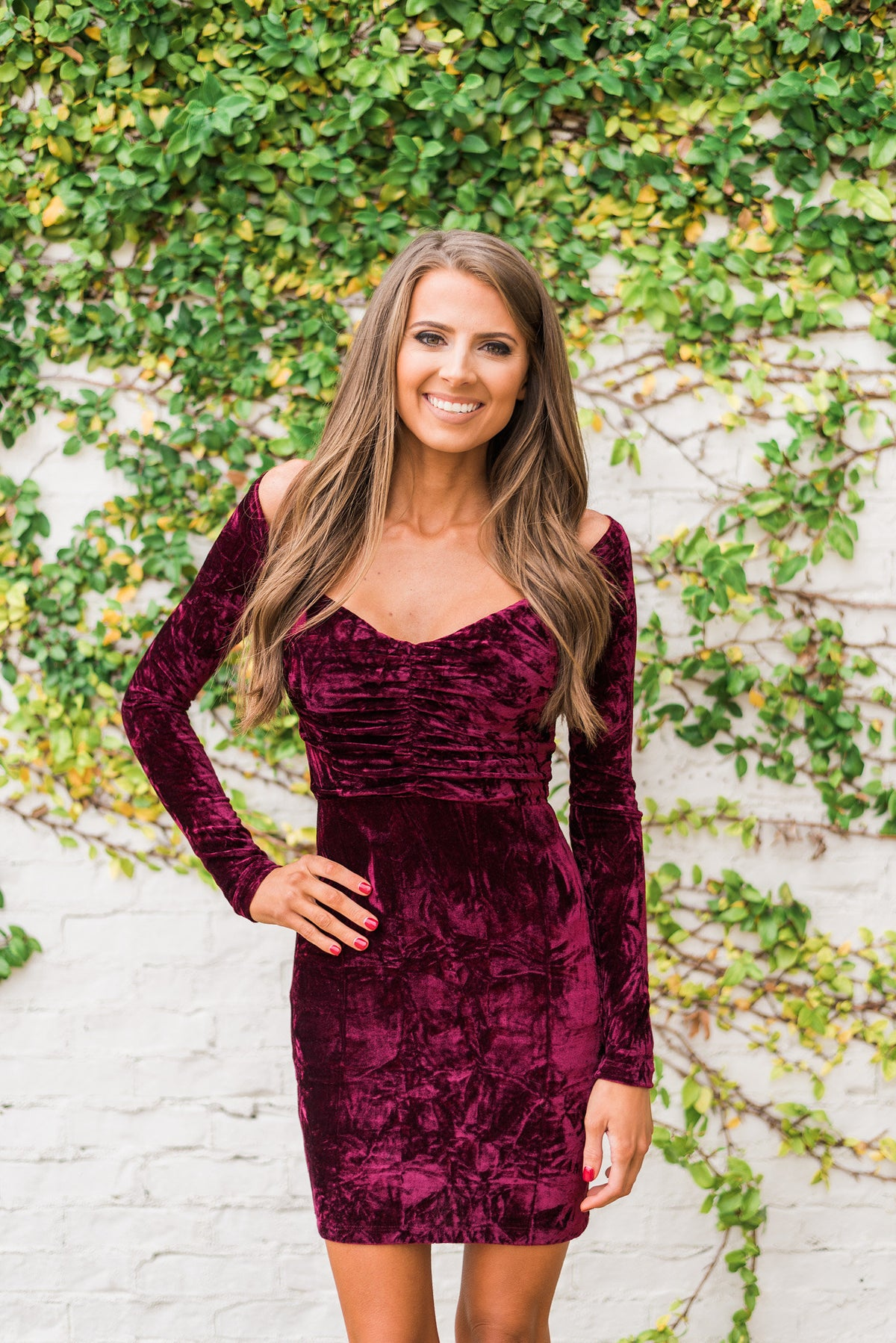 Velvet OTS Dress-Wine