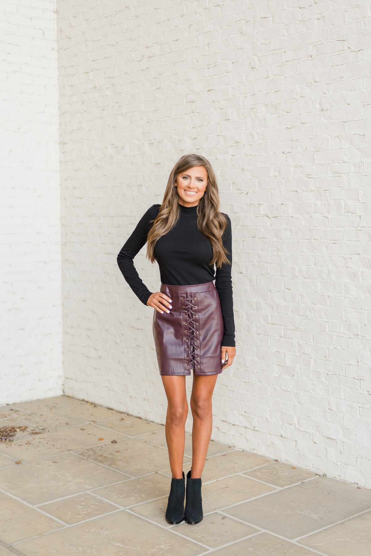 Leather Lace Up Skirt-Wine