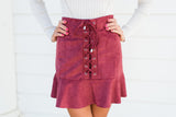 Lace Up Trumpet Suede Mini-Wine