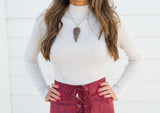 High Neck Ribbed Crop Top-Stone