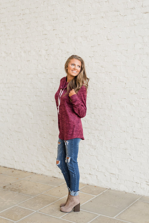 Chic Cowl Neck Pullover-Burgundy