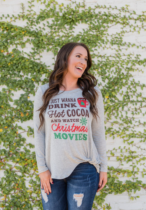Hot Cocoa & Christmas Movies Top- Heather Grey
