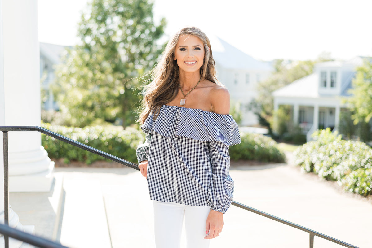 Gingham Off Shoulder Ruffle Top