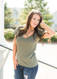 Cotton Criss Cross Tee- Olive