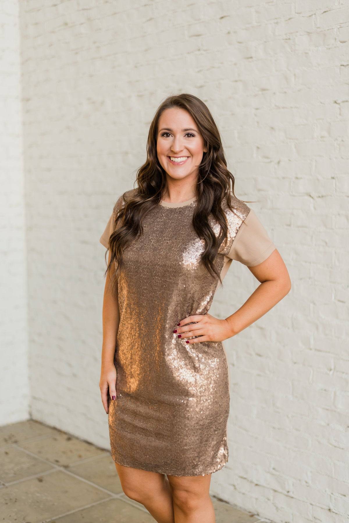 Front Sequins Gold Dress