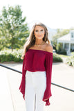OTS Bell Sleeve Crop Top-Burgundy