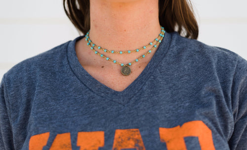 Double Wrap Coin Necklace-Turquoise