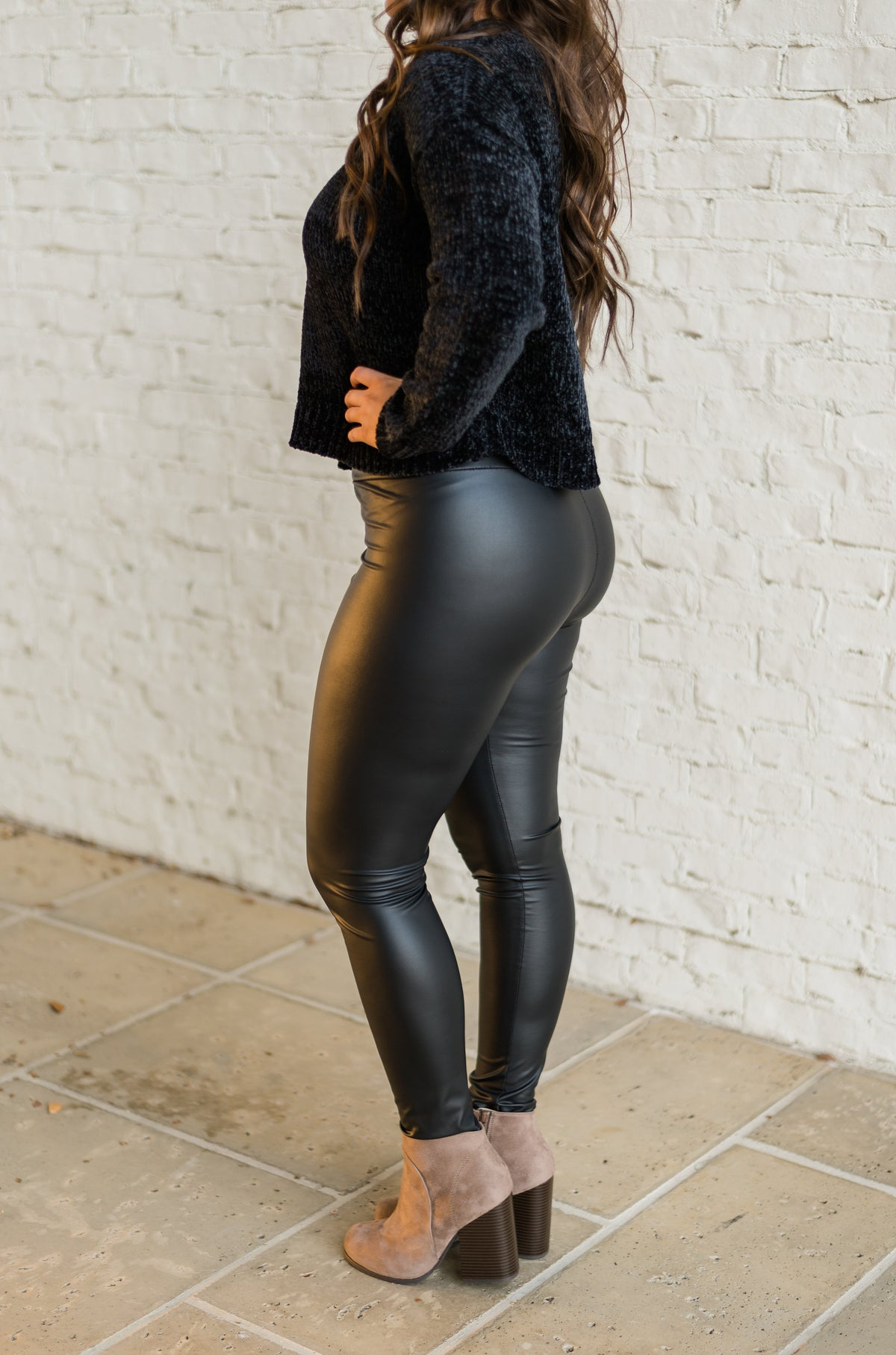 High Waisted Leather Leggings-Black