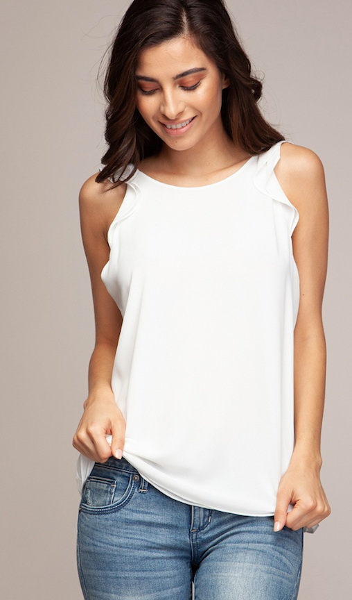 Bow Back Ruffle Sleeve Top- Off White