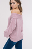 Chenille OTS Puff Sleeve Sweater-Blush