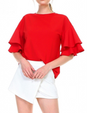 Tiered Sleeve Blouse - Red