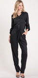 Button Front Jumpsuit-Black