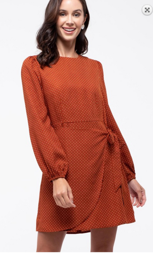 Polka Dot Wrap Dress- Rust