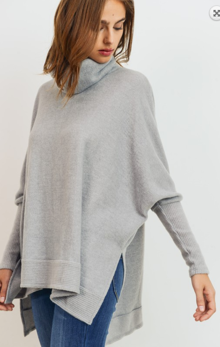 Ohh So Soft Cowl Neck Sweater- Grey
