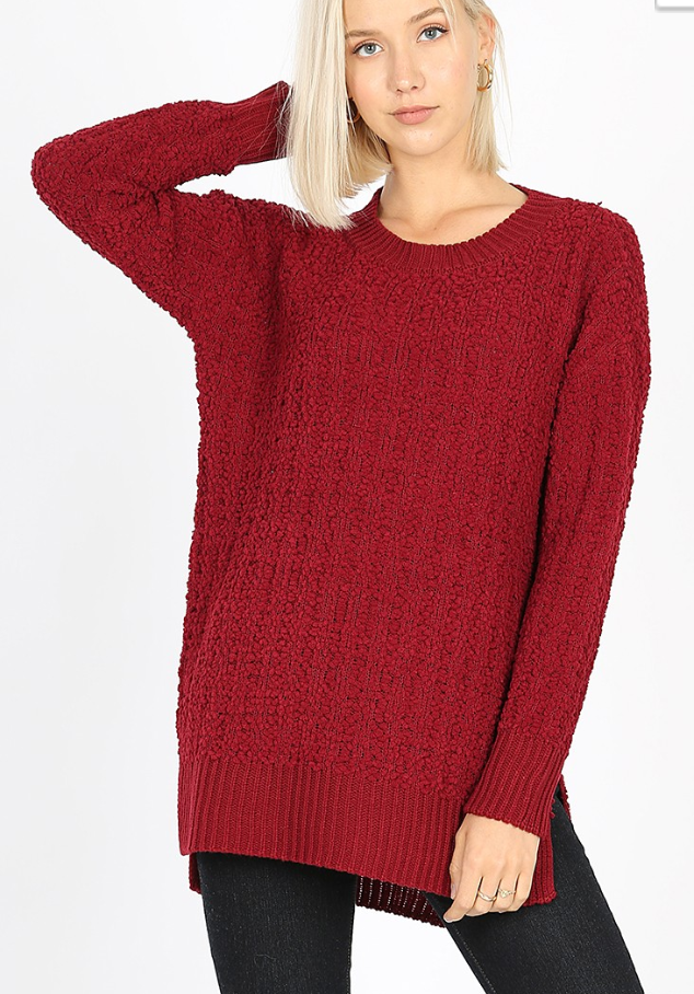 Black Friday Popcorn round neck sweater - Wine